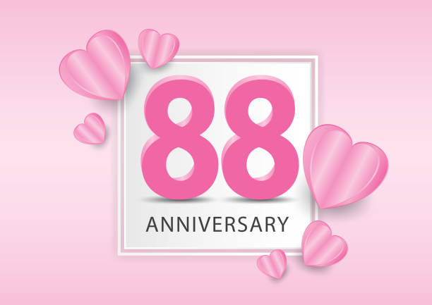 88 years anniversary logo celebration with heart background. valentine's day anniversary banner vector template - oscars stock illustrations