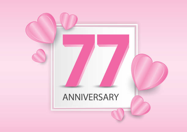 77 years anniversary logo celebration with heart background. valentine's day anniversary banner vector template - oscars stock illustrations