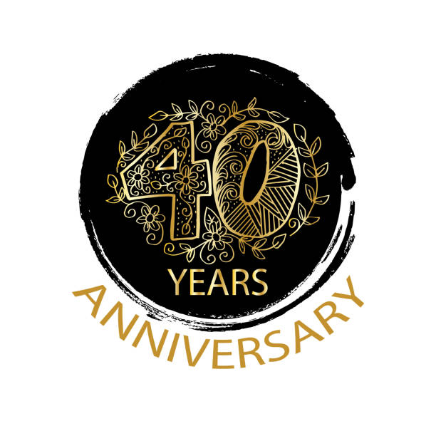 40 years anniversary logo, emblem, card. vector art illustration