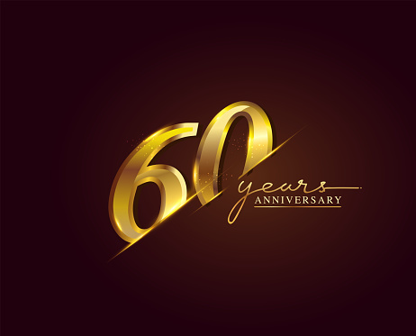 60 Years Anniversary Logo Golden Colored isolated on elegant background, vector design for greeting card and invitation card