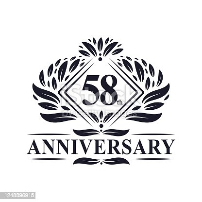 58 years Anniversary Logo, Luxury floral 58th anniversary logo.