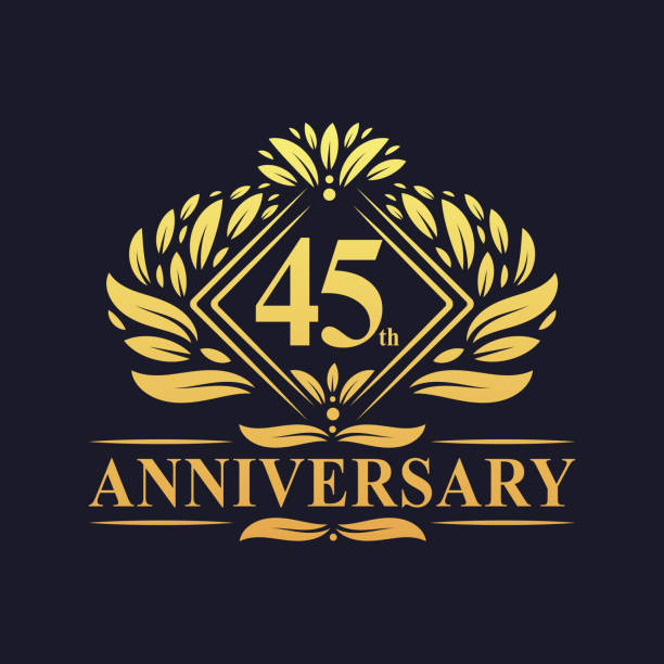 45 years Anniversary Logo, Luxury floral golden 45th anniversary logo. 45 years Anniversary Logo, Luxury floral golden 45th anniversary logo. greeting card with the 45th anniversary stock illustrations