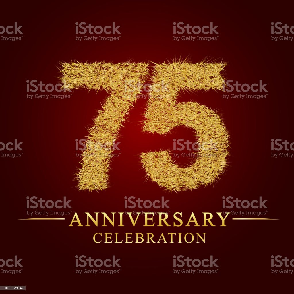 75 years anniversary logo nest and fuzz gold foil. vector art illustration