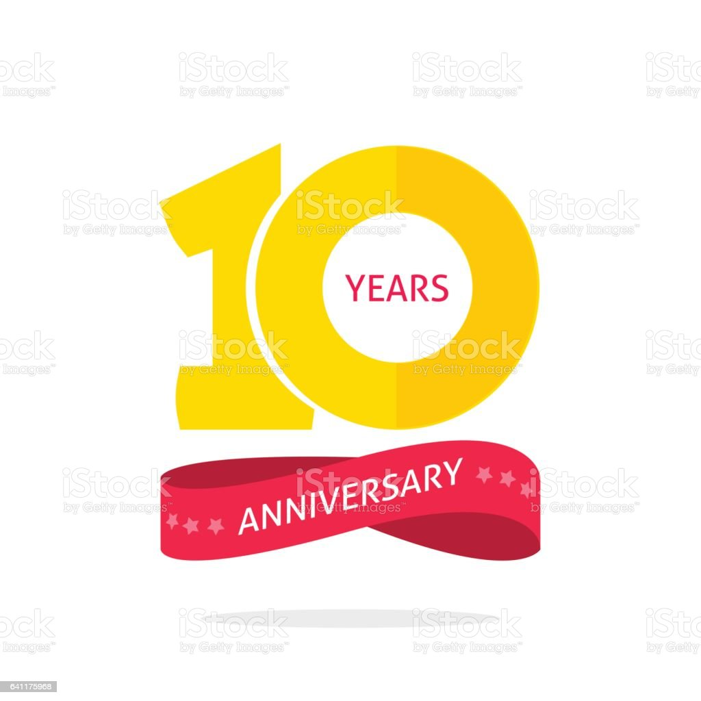 10 years anniversary logo template, 10th anniversary icon label, ten year birthday party symbol vector art illustration