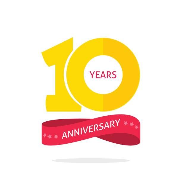 10 years anniversary logo template, 10th anniversary icon label, ten year birthday party symbol 10 years anniversary logo template with a shadow on circle and number, 10th anniversary icon label, ten year birthday party symbol isolated on white background invitational stock illustrations