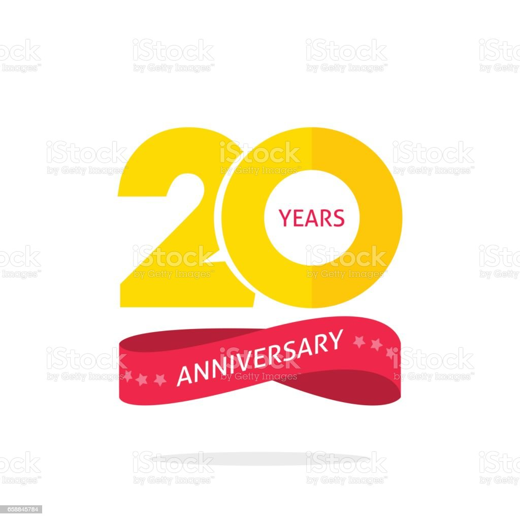 20 years anniversary logo template, 20th anniversary icon label with ribbon vector art illustration