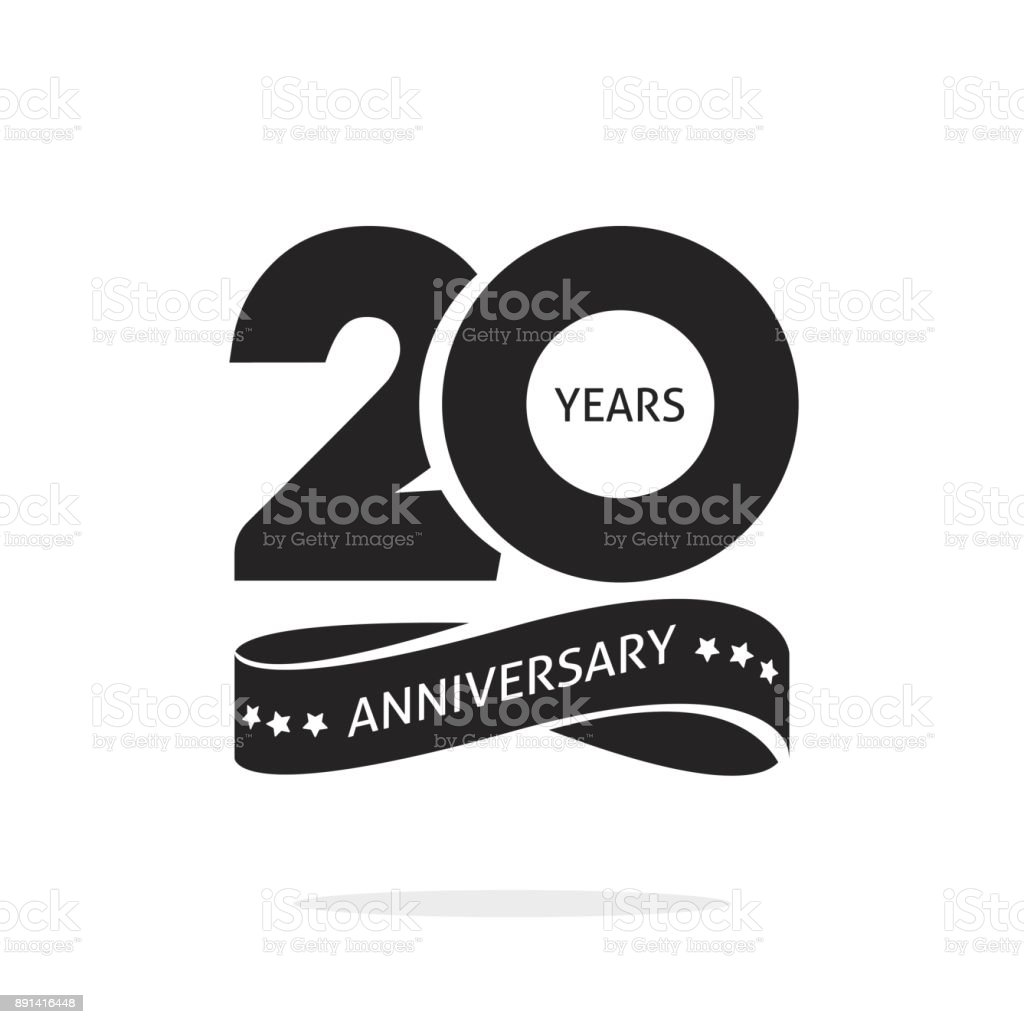20 years anniversary logo template isolated, black and white stamp 20th anniversary icon label with ribbon, twenty year birthday seal symbol - illustrazione arte vettoriale