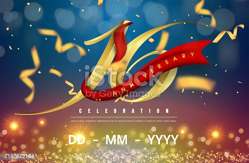 16 years anniversary logo template on gold and blue background. 16th celebrating golden numbers with red ribbon vector and confetti isolated design elements