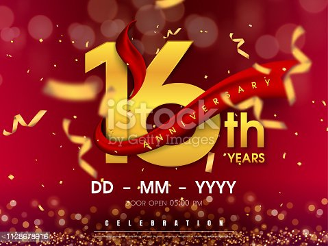 16 years anniversary logo template on gold background. 16th celebrating golden numbers with red ribbon vector and confetti isolated design elements