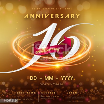 16 years anniversary logo template on golden Abstract futuristic space background. 16th modern technology design celebrating numbers with Hi-tech network digital technology concept design elements.