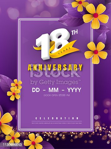 18 years anniversary logo template on golden flower and purple background. 18th celebrating white numbers with gold ribbon vector and bokeh design elements, anniversary invitation template card design