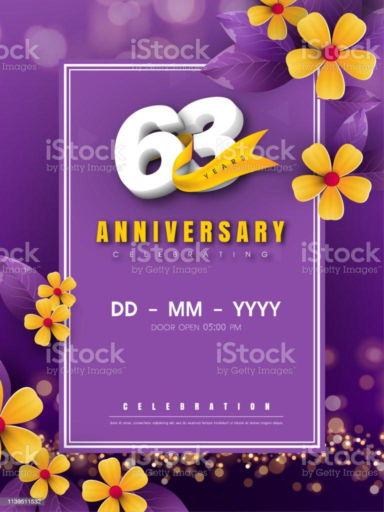63 Ans Anniversaire Logo Modele Sur Fleur Doree Et Fond Violet 63eme Celebrant Les Numeros Blancs Avec Des Elements De Conception De Vecteur Et Bokeh De Ruban Dor Conception De Carte Anniversaire