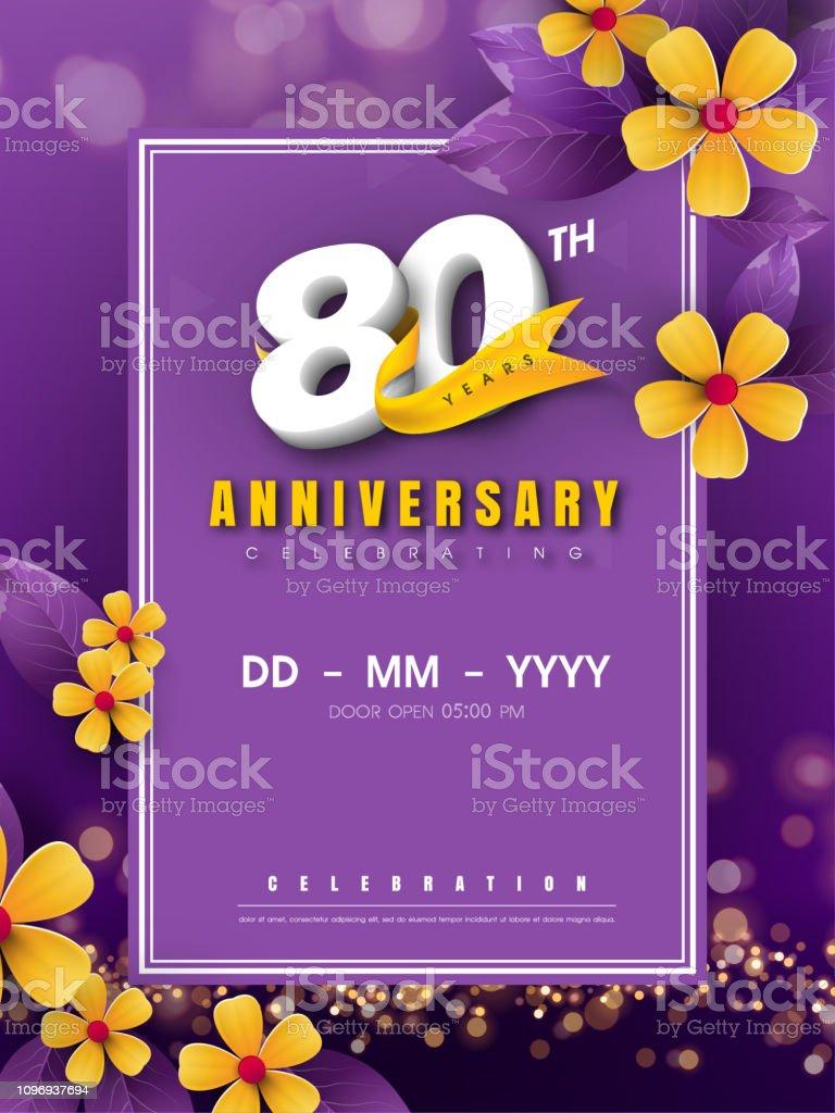 Modele De Logo Danniversaire 80 Ans Sur La Fleur Dor Et Fond Violet 80e Numeros Celebrant Blanc Dor Ruban Vector Et Bokeh Elements De Conception Conception De Cartes Anniversaire Invitation Modele Vecteurs