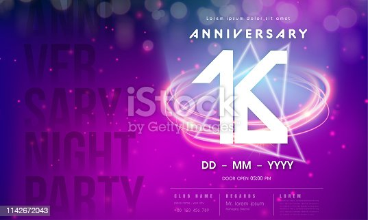 16 years anniversary logo template on purple Abstract futuristic space background. 16th modern technology design celebrating numbers with Hi-tech network digital technology concept design elements.