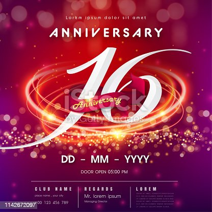 16 years anniversary logo template on red and pink Abstract futuristic space background. 16th modern technology design celebrating numbers with Hi-tech network digital technology concept design elements