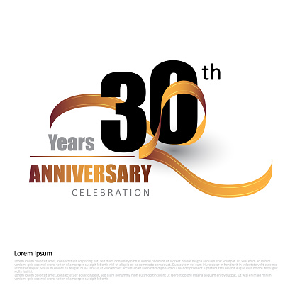 30 years anniversary logo template with ribbon