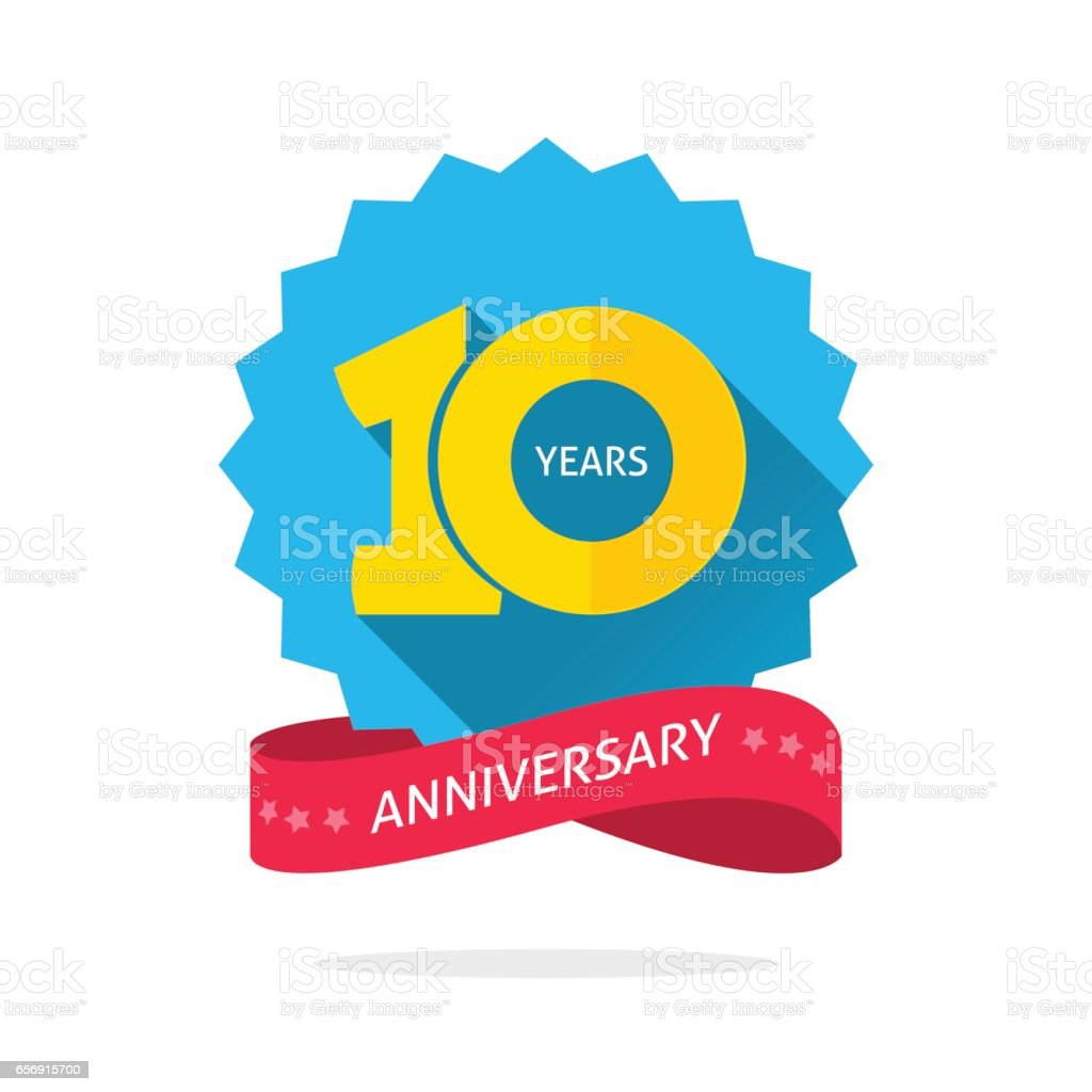 10 years anniversary logo template with shadow on blue color rosette and number vector art illustration