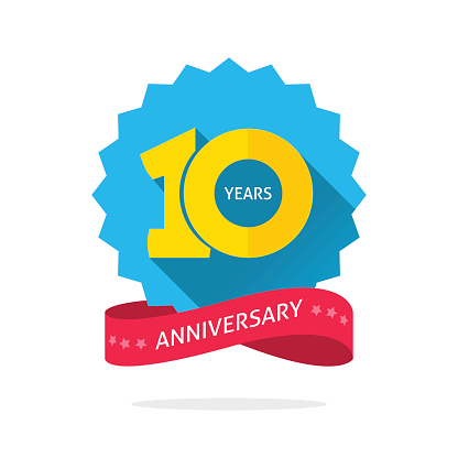 10 Years Anniversary Logo Template With Shadow On Blue Color Rosette And Number Stock Illustration - Download Image Now