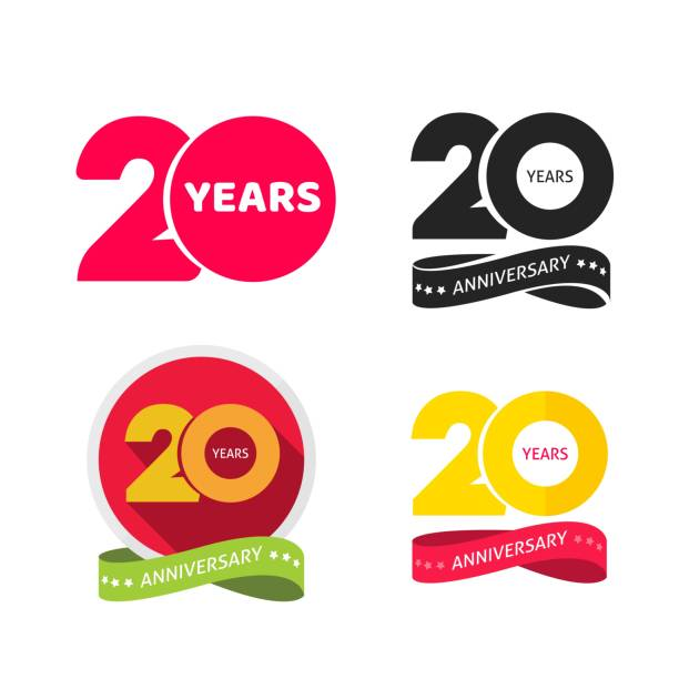 20 years anniversary logo vector icon or 20th year birthday symbol collection flat cartoon, twenty birthday party pictograms set isolated on white background clipart vector art illustration