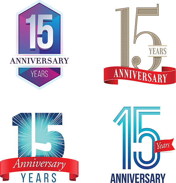 15 Years Anniversary Logo A Set of Symbols Representing a Fifteenth Anniversary/Jubilee Celebration 14 15 years stock illustrations