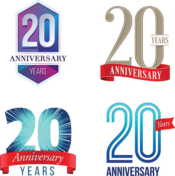 20 Years Anniversary Logo A Set of Symbols Representing a Twentieth Anniversary/Jubilee Celebration 20 24 years stock illustrations
