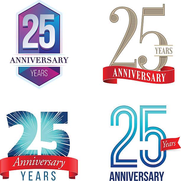 ilustrações, clipart, desenhos animados e ícones de logotipo de aniversário de 25 anos - 25 30 anos
