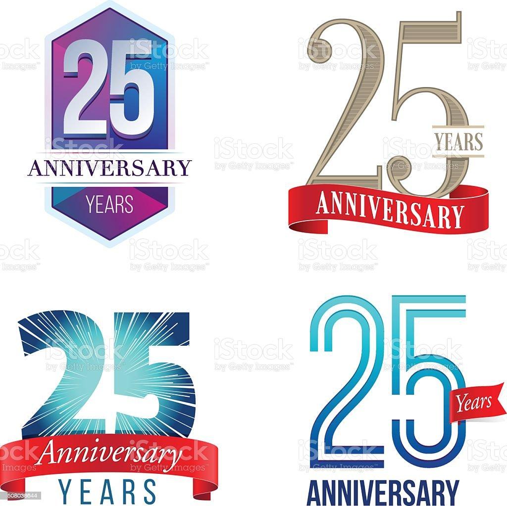 Logotipo de 25 años aniversario - ilustración de arte vectorial