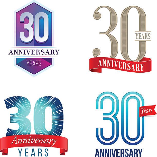 30 jahre jubiläum-logo - 30 34 jahre stock-grafiken, -clipart, -cartoons und -symbole