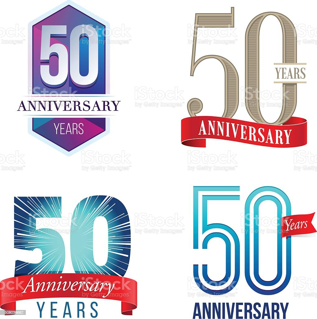 50 Years Anniversary Logo vector art illustration
