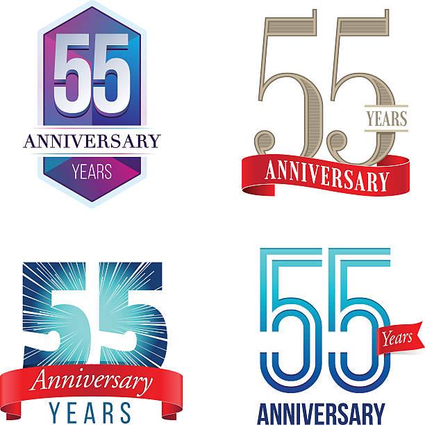 bildbanksillustrationer, clip art samt tecknat material och ikoner med 55 years anniversary logo - 55 59 år