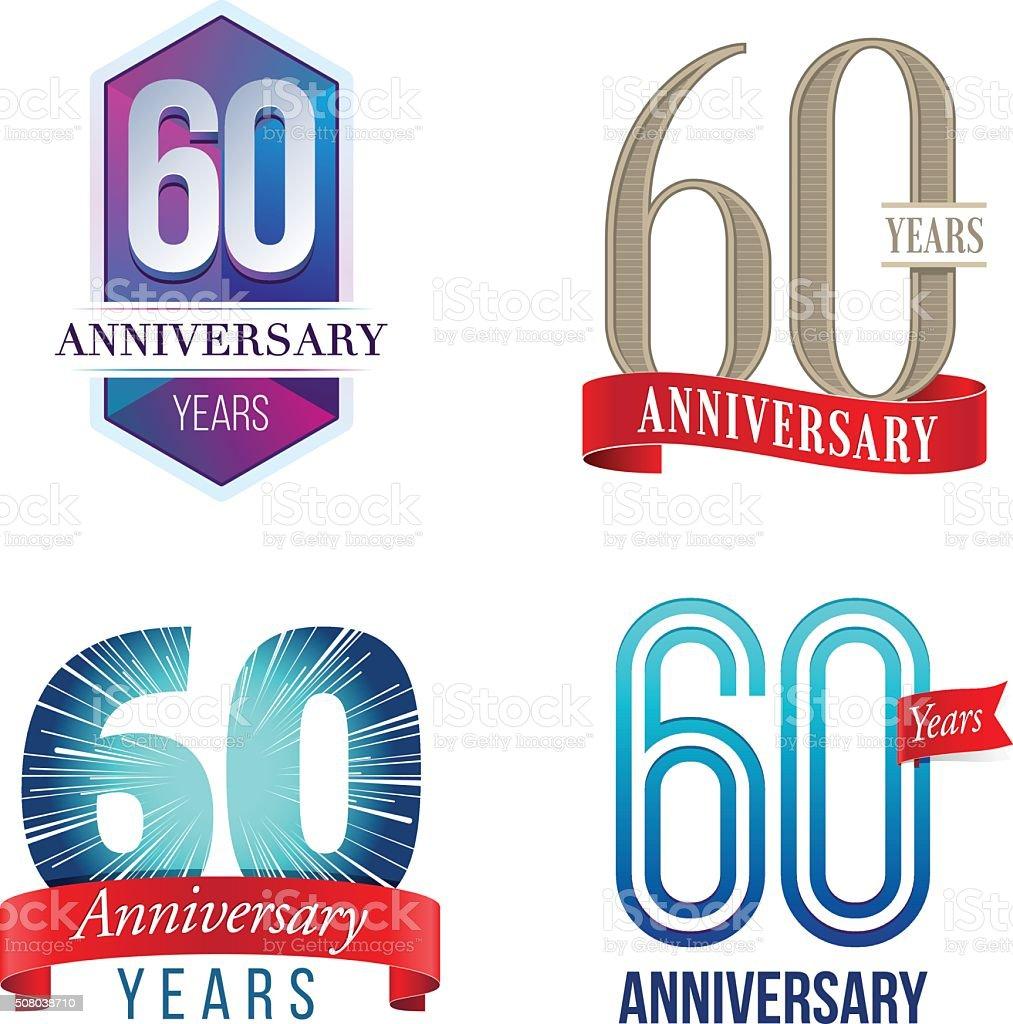 60 anni anniversario con Logo - illustrazione arte vettoriale