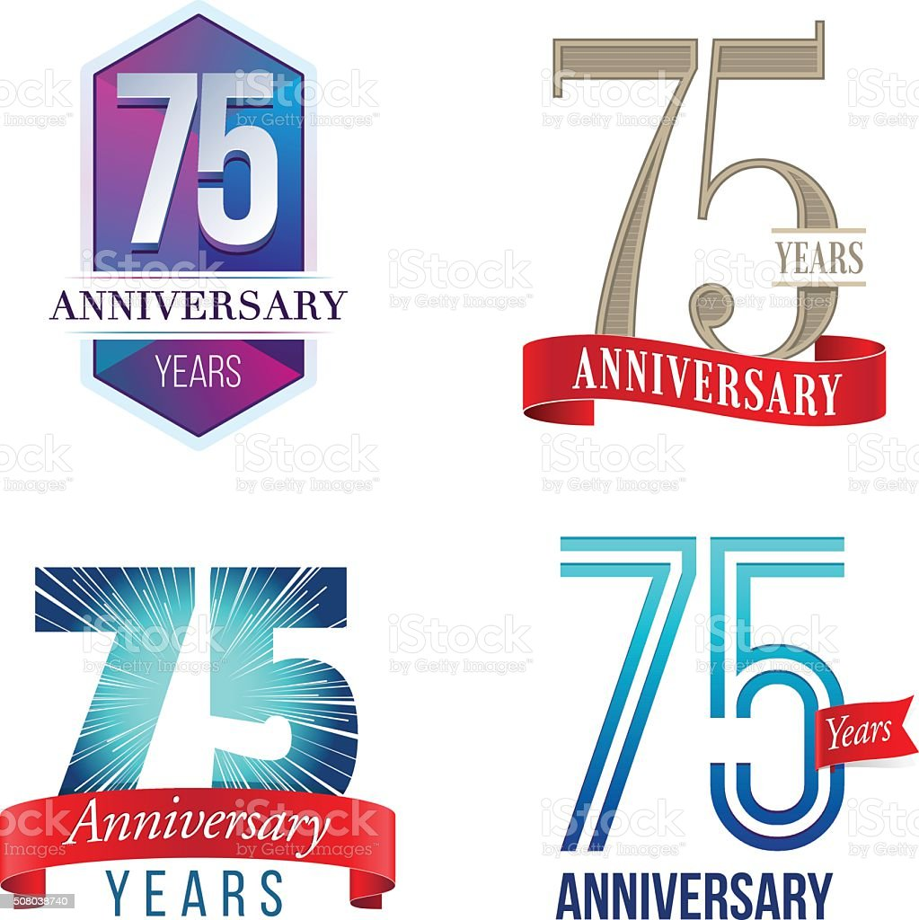 75 Years Anniversary Logo vector art illustration