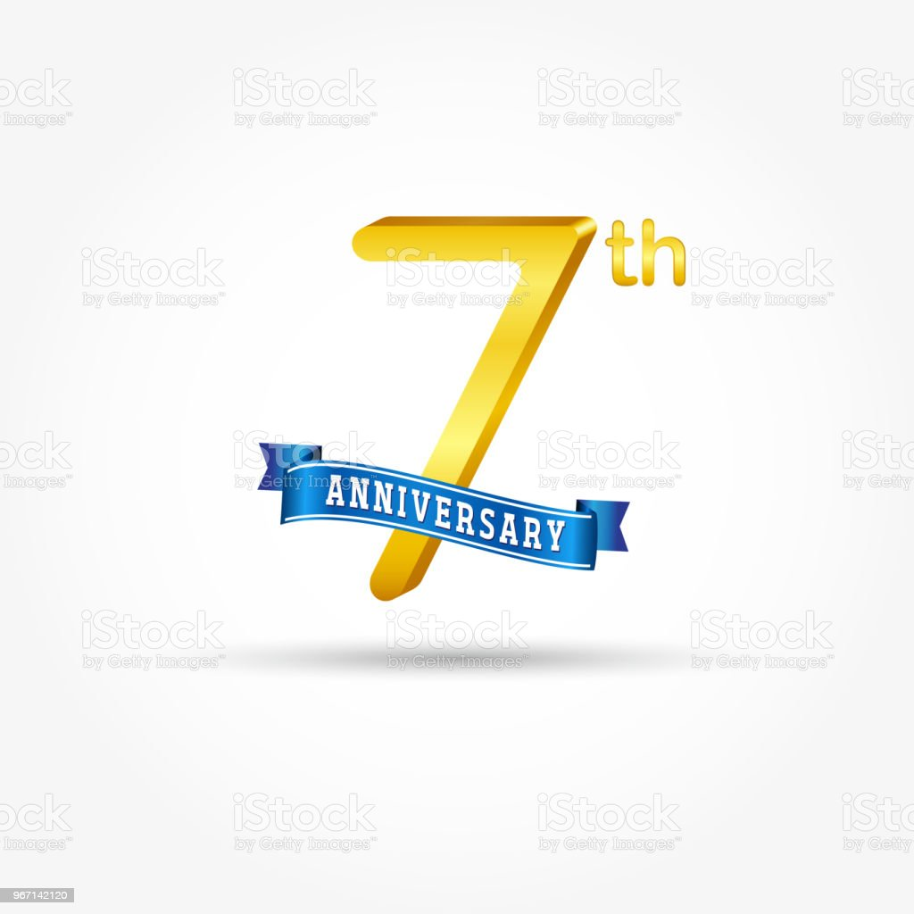 7 years Anniversary logo with blue ribbon isolated on white background. vector art illustration