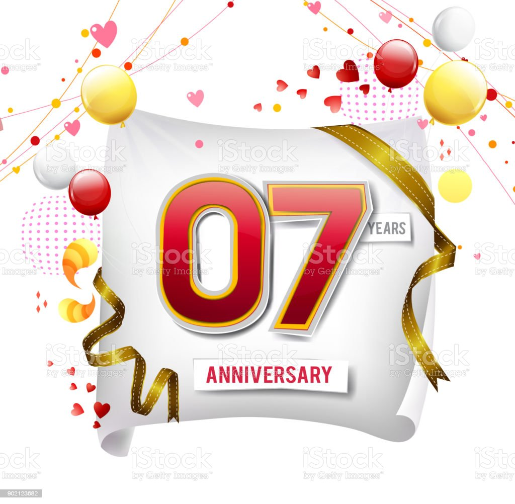 7 years Anniversary logo with colorful abstract background, vector design template elements for invitation card and poster your birthday celebration. vector art illustration