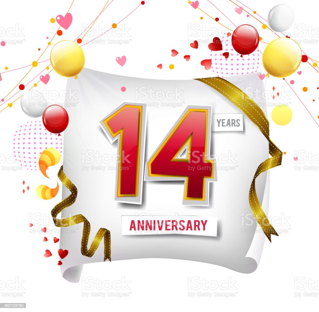 14 Years Anniversary Logo With Colorful Abstract Background Vector