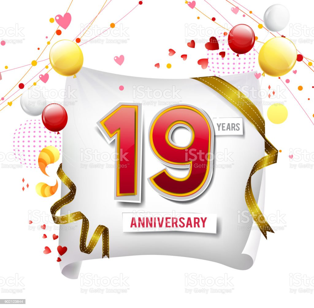19 Years Anniversary Logo With Colorful Abstract Background Vector Design Template Elements For Invitation Card And Poster Your Birthday Celebration