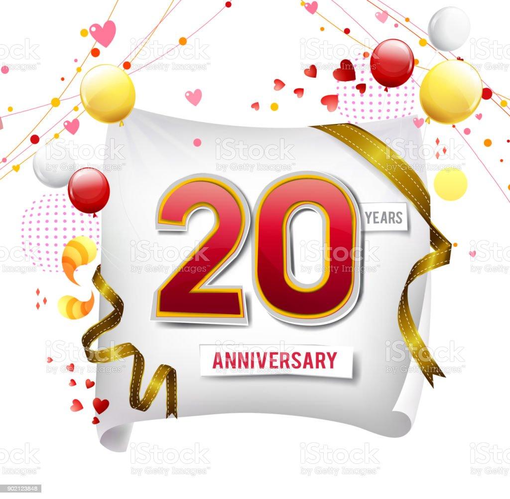Logo Anniversaire 20 Ans Avec Fond Abstrait Coloré Vecteur