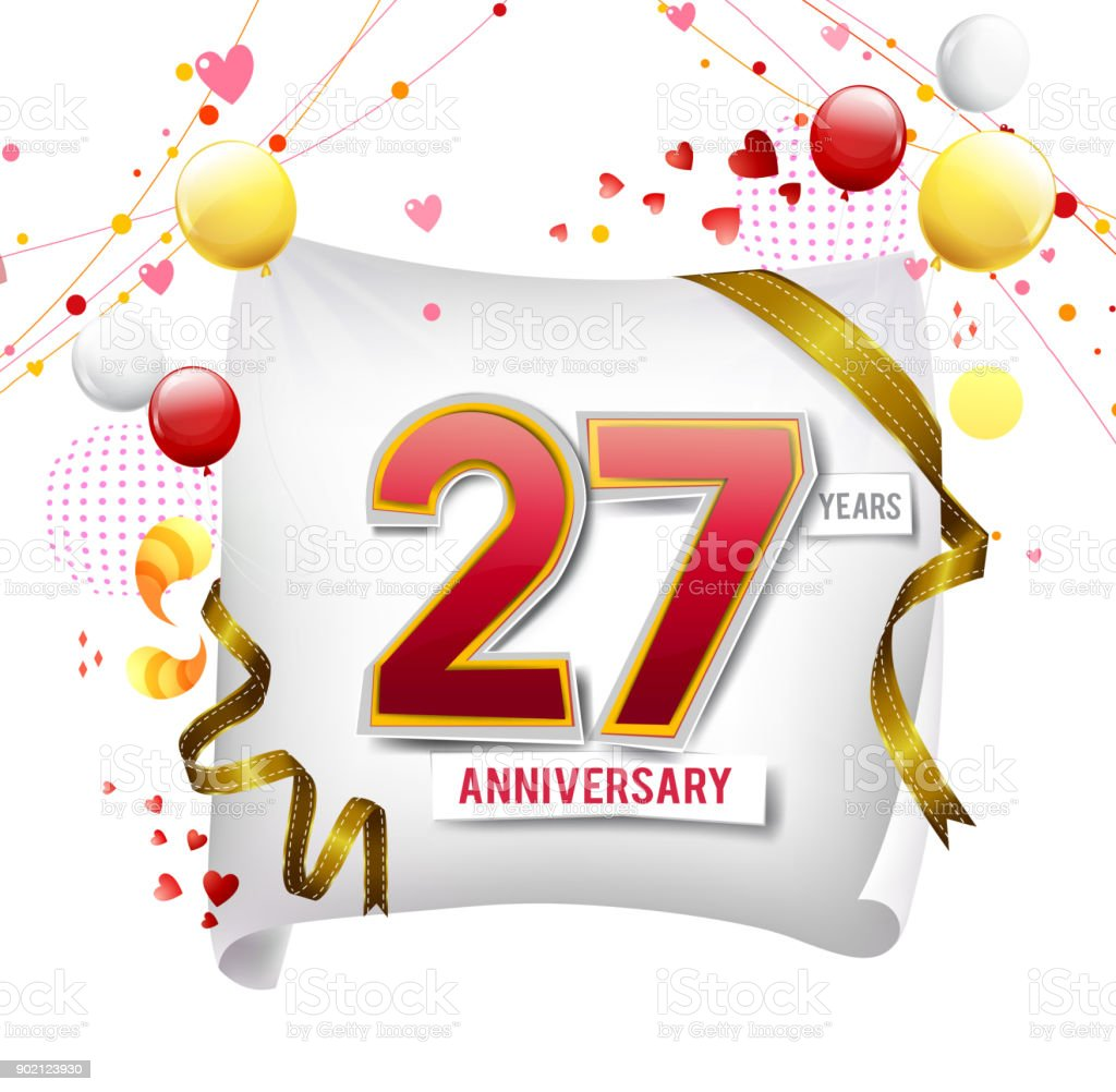 27 years anniversary logo with colorful abstract background vector 27 years anniversary logo with colorful abstract background vector design template elements for invitation card biocorpaavc Images