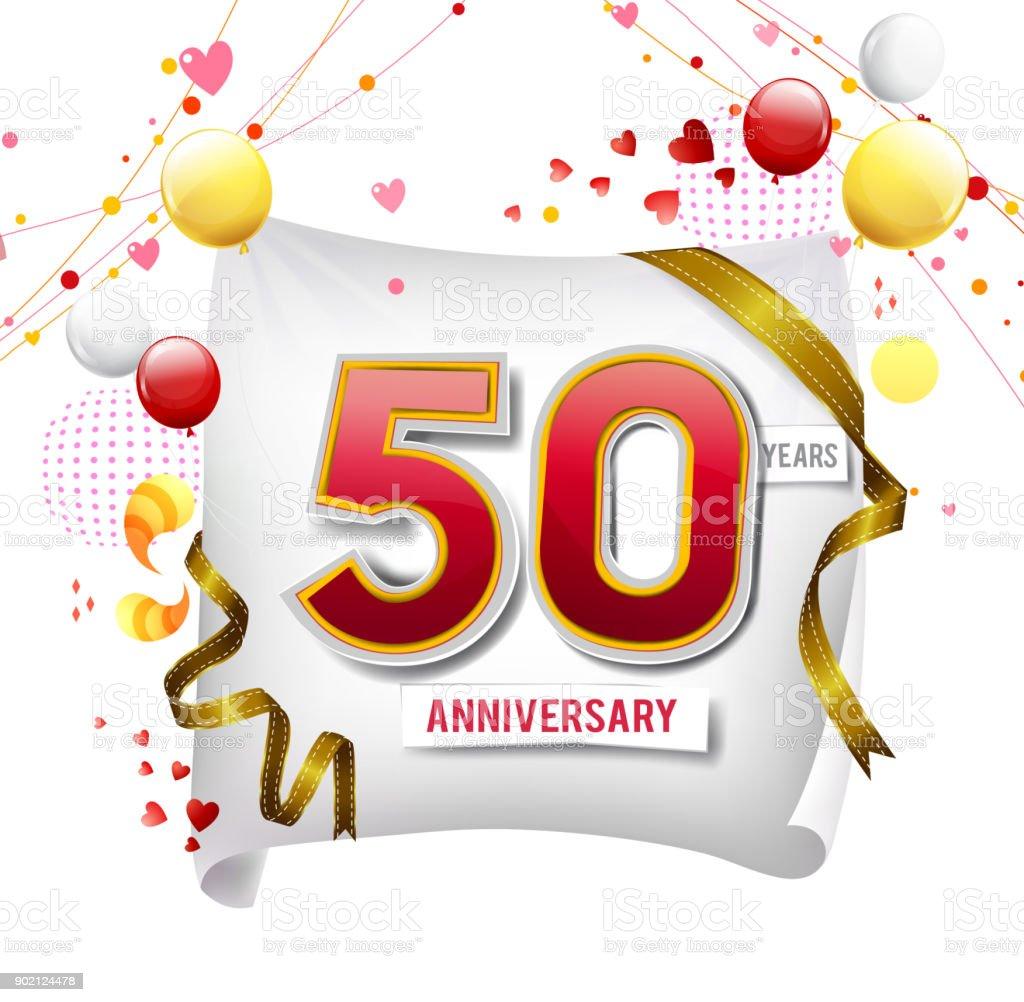 Ilustración De Logotipo Del Aniversario De 50 Años Con