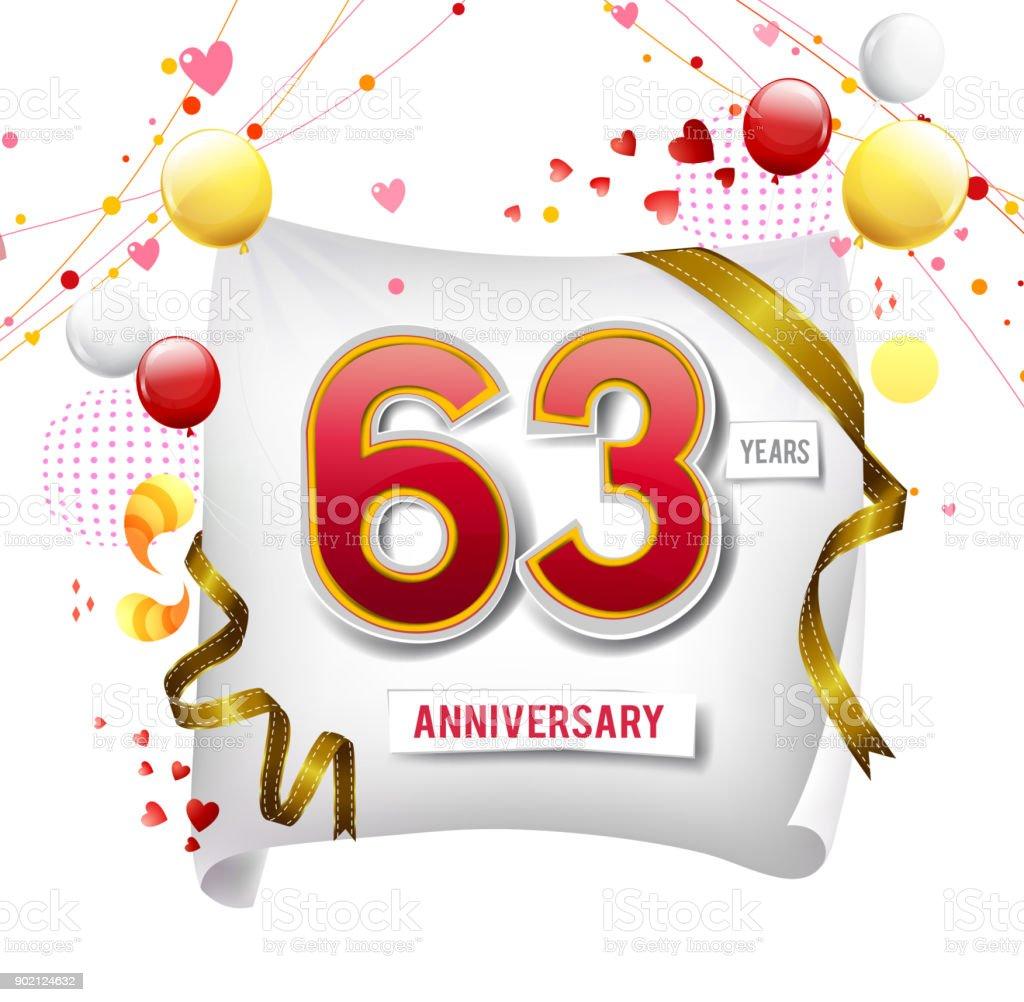 Logo Anniversaire 63 Ans Avec Fond Abstrait Colore Vecteur Conception Des Elements De Modele De Carte Dinvitation Et Affiche Votre Fete Danniversaire Vecteurs Libres De Droits Et Plus D Images Vectorielles De Abstrait