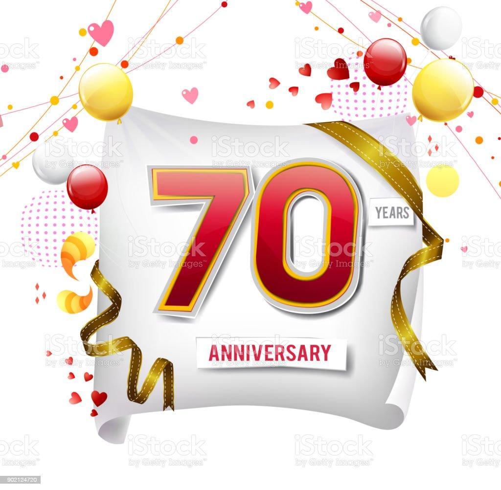 Ilustración De Logo Del Aniversario 70 Años Con Colores De