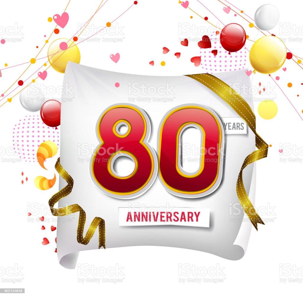Ilustración De Logotipo Del Aniversario De 80 Años Con