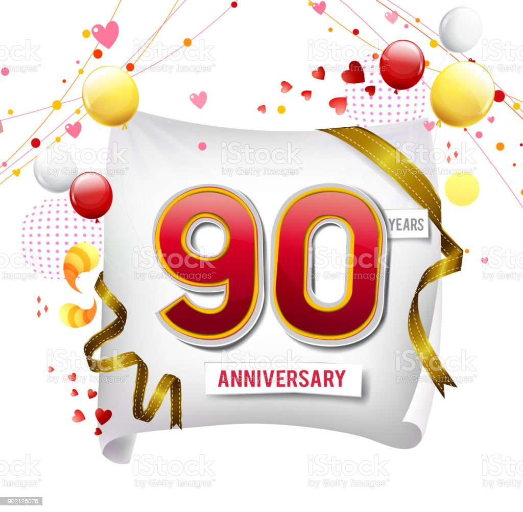 90 Years Anniversary Logo With Colorful Abstract Background Vector ...