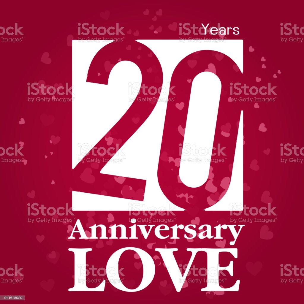 20 Jahre Jubiläum Liebe Quadratischen Rahmen Roten Hintergrund ...