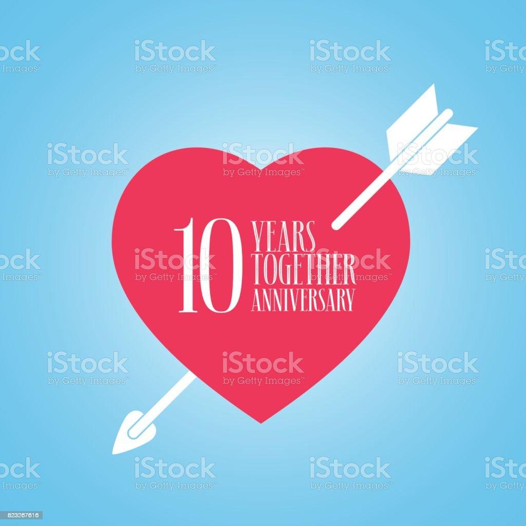 10 Ans Danniversaire De Mariage Ou Mariage Icône Vecteur