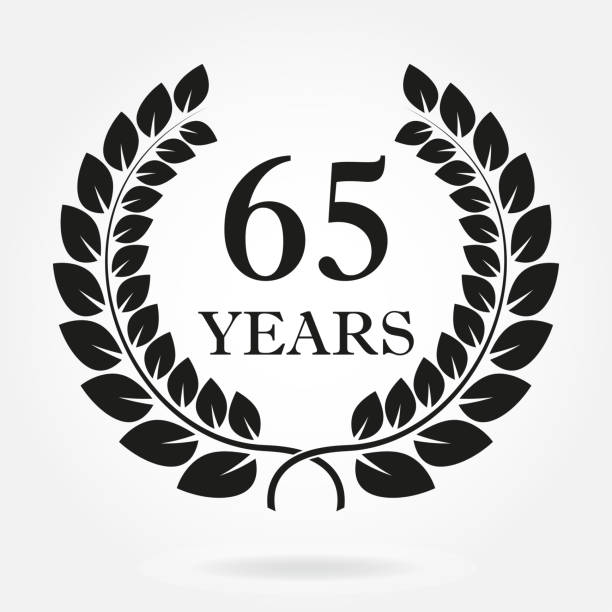 65 years. Anniversary or birthday icon with 65 years and  laurel wreath. Vector illuatration. vector art illustration