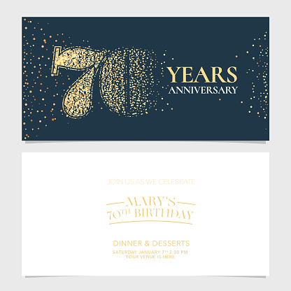 70 years anniversary party invitation card vector. Graphic design element with number for 70th anniversary greeting card or banner