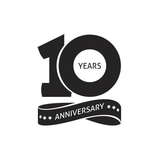 bildbanksillustrationer, clip art samt tecknat material och ikoner med 10 år årsdagen piktogram vektor ikon, 10th årsbeteckning födelsedag logotyp - årsdag