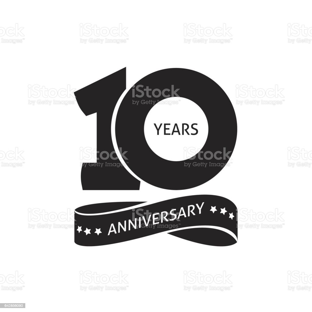 10 years anniversary pictogram vector icon, 10th year birthday logo label - illustrazione arte vettoriale