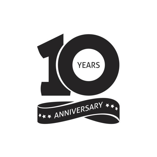ilustraciones, imágenes clip art, dibujos animados e iconos de stock de 10 años aniversario pictograma vector icono de etiqueta de la insignia del cumpleaños del año 10 - anniversary